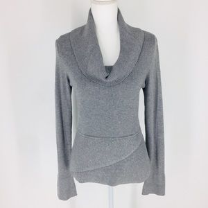 White House Black Market Gray Cowl Neck Sweater